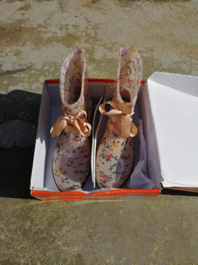 女式花色中筒雨靴雨鞋PVC水靴系带短筒水鞋胶鞋套鞋马丁雨靴 豹纹 36号 晒单图