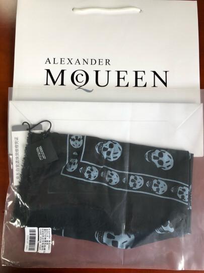 Alexander McQueen 亚历山大·麦昆 莫代尔纤维藏蓝色骷髅头印花流苏边  中性围巾丝巾 110640 3943Q 4189 晒单图