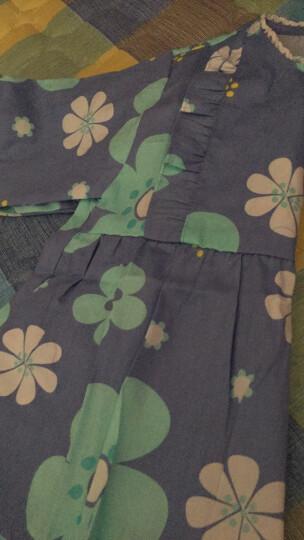 灿杨 儿童卡通花边女童罩衣反穿衣宝宝 围裙纯棉婴儿防水吃饭衣公主裙 152大花蓝色 90(90 建议1-2周) 晒单图