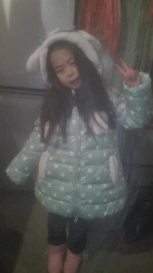 韦氏儿童羽绒服 女童羽绒服 羽绒童装 韩版印花布儿童羽绒服 蓝绿色-47 110(身高90-100CM) 晒单图
