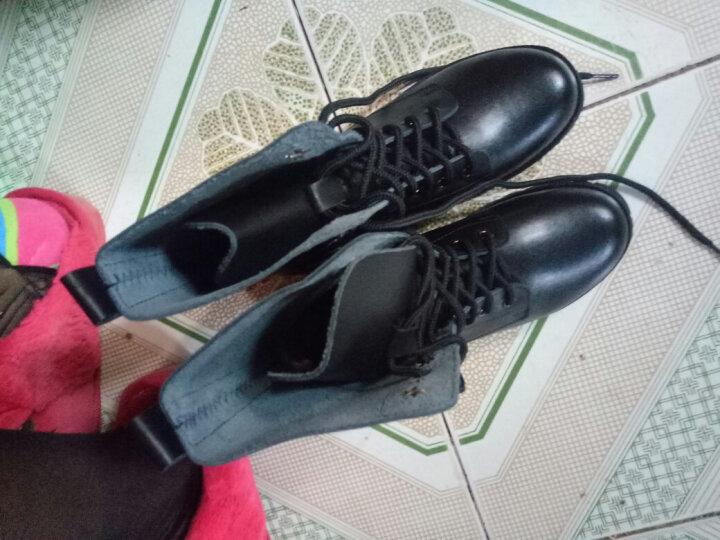 苹果马丁靴女中筒真皮女靴英伦风学生单靴韩版休闲单内里情侣靴特大码 黑色加棉内里 38 晒单图