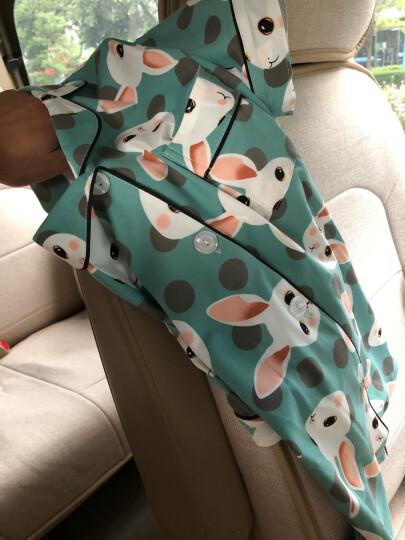 迪亚兹 睡衣女秋冬季韩版清新学生小草莓睡衣女秋套装韩版清新学生可外穿长袖两件套纯棉家居服宽松 (长袖)水蓝萌兔 M码(建议70-100斤) 晒单图
