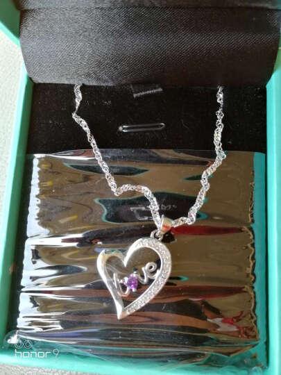 SWM 925纯银项链女士款学生吊坠时尚爱心形锁骨链首饰品刻字生日圣诞节礼物 心中有爱 浪漫紫 晒单图