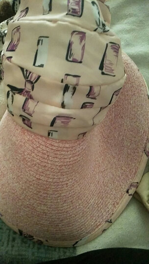 玉柳缘帽子女夏天大沿草编遮阳帽紫外线户外骑车防晒帽可折叠空顶帽沙滩太阳帽女士凉帽 粉色 晒单图