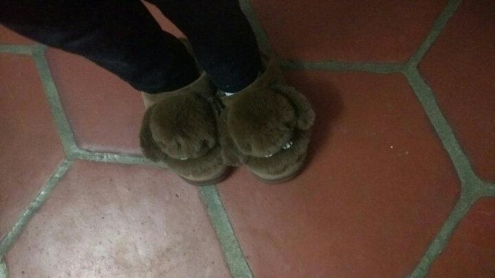 糖果涩 2018冬季新款儿童棉拖鞋可爱半包跟兔子毛绒拖鞋居家保暖男女童棉拖鞋 咖啡 21-22码内长约19CM大概适合5-6岁 晒单图