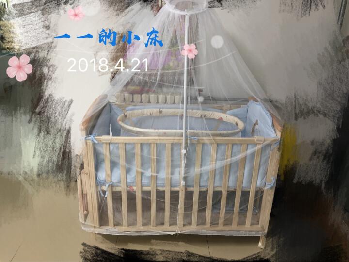 好孩子(gb)婴儿床新生儿实木无漆环保多功能宝宝床拼接床特有尿布台 标配+椰棕床垫+纯棉8件套粉 晒单图