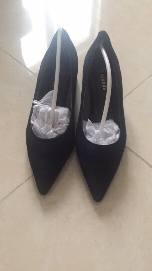 促 莱尔斯丹 新款女鞋时尚绒面套脚通勤鞋尖头粗跟中跟女单鞋OUSE 8T42501 橙色 ORS 36 晒单图