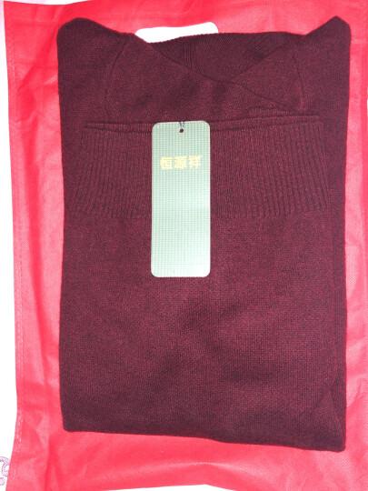 恒源祥纯羊毛衫男 冬季新款中年高领大码加厚针织衫套头纯色毛衣男 暗红色 175/XL 晒单图