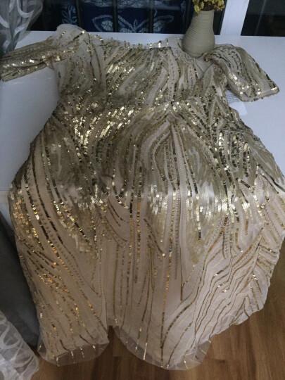 麦斯贝思金色礼服女2019新款时尚修身显瘦年会主持人晚礼服裙宴会优雅长款女 金黄色 M 晒单图