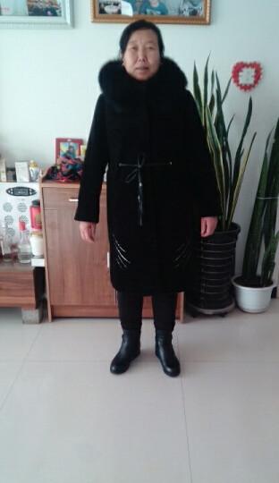 RD 海宁中老年人羊剪绒大衣皮草女外套妈妈装中长款狐狸毛连帽系带羊毛风衣 黑色 XL 晒单图