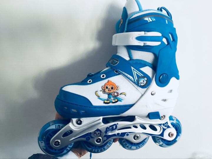 AD 享乐溜冰鞋儿童轮滑鞋全套装女童滑冰鞋小孩直排轮男宝宝旱冰鞋可调 粉色新款丨套装(含护具头盔+包) S(实际27-32) 晒单图