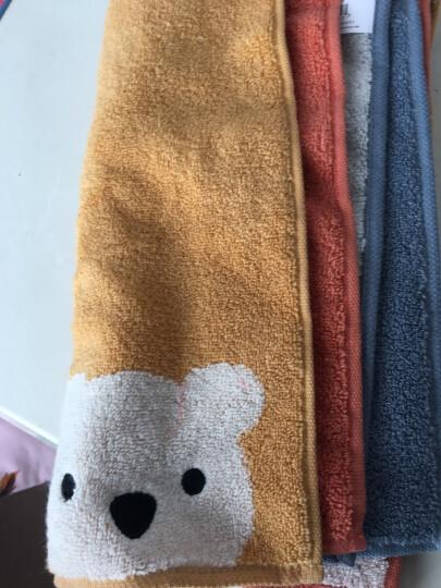 金号毛巾儿童 毛巾 纯棉儿童小方巾卡通小熊方巾擦手挂式小面巾S6130WH 选配3条装方巾 橙黄灰各色1条 30*30cm 晒单图
