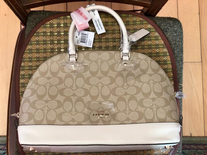 蔻驰(COACH) 奢侈品 奢侈品 女士卡其白色PVC手提肩背斜挎贝壳包 大号 F58287 IMDQC 晒单图