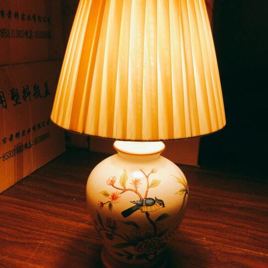 紫烨陶瓷台灯小夜灯装饰中式温馨床头喂奶工艺品可爱创意个性时尚客厅书房彩色酒店宾馆灯具台灯 花鸟图陶瓷台灯 折后价149元 晒单图