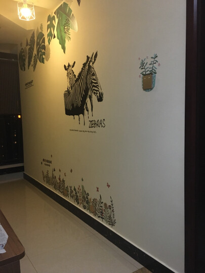 其乐创意个性斑马客厅玄关装饰墙贴纸简约艺术店铺酒吧KTV墙壁墙贴画 G款超萌猫咪AY9048★S 晒单图