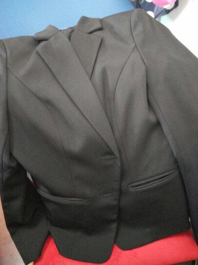 斐格欧文小西装职业装女装套装银行酒店商务 正装外套西服套装工作服套裙 黑色三件套(西服+裙子+裤子) XXXL125-135 晒单图
