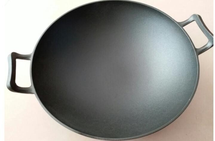 赤霄 炒锅铸铁 木质盖 中式双耳加厚铁 明火燃气煤气灶电磁炉通用 直径32cm 晒单图