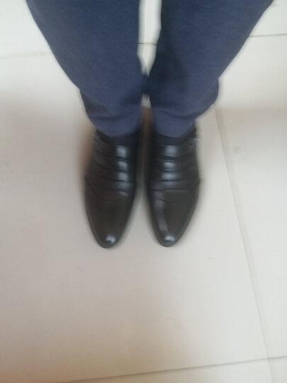 伊万尼春秋季新款真皮男士皮鞋透气增高商务休闲鞋时尚英伦套脚男鞋 蓝色 39 晒单图
