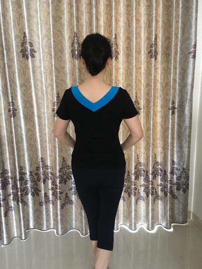 短袖莫代尔广场舞服装夏季新款中老年上衣修身V领圆领舞蹈服女 黑+蓝色(双V领) XL 晒单图