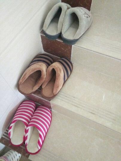 火轮秋冬季保暖男女厚底棉拖鞋居家居拖鞋室内地板毛拖鞋加厚拖鞋 HL7031 棕色 43/44(适合42-43码左右穿) 晒单图
