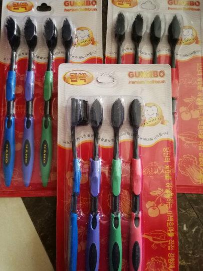 竹炭牙刷4支装 双层设计 竹纤维超细软毛牙刷 纳米树脂牙刷 竹炭黑头有效清洁牙缝 晒单图