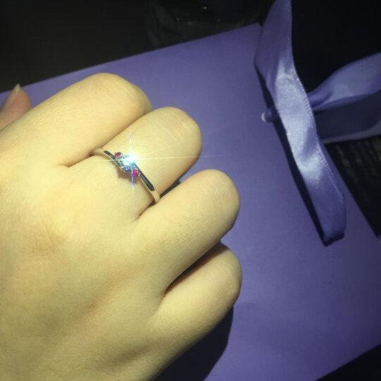 诺比雅珠宝 18k金钻石戒指白金结婚求婚粉红宝钻戒女对戒铂金定制正品 共20分(16分主钻+4分粉红宝) FG优白/ SI 晒单图
