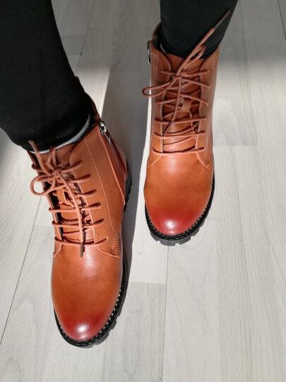 【精选】JOOHEES爵熙 专柜款女靴增高保暖加绒短靴马丁靴女鞋新品 黑色 38 晒单图