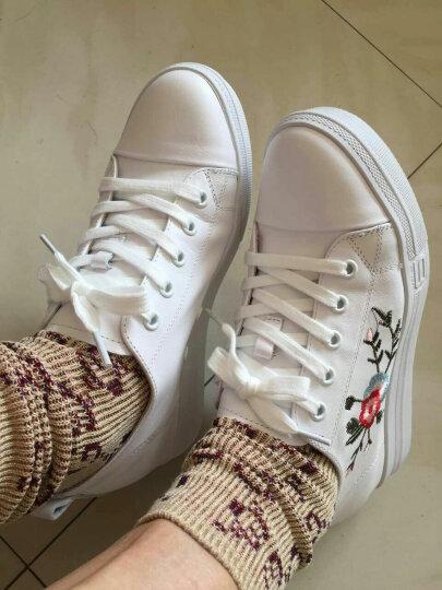 高蒂(gaodi)休闲鞋女牛皮内增高女鞋刺绣厚底学院风小白鞋女 白色 38 晒单图