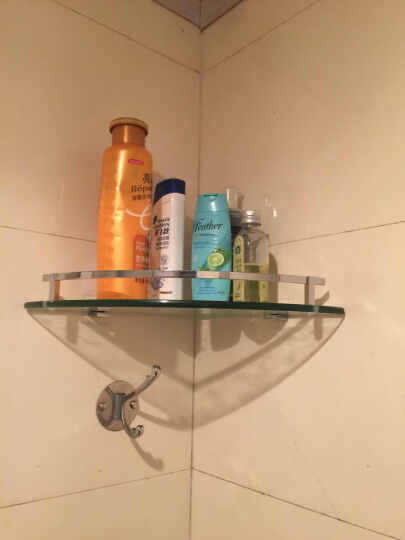 派欧尼三角置物毛巾架全铜三角篮浴室挂件转角玻璃层架 三层 晒单图