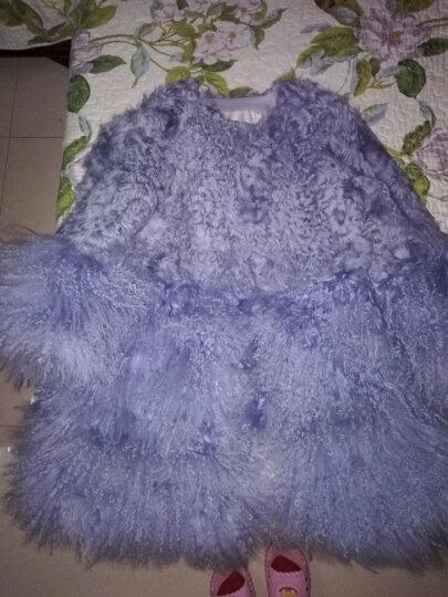 科伦普 羊羔毛滩羊毛皮草大衣2018新款中长款海宁真皮皮毛一体毛毛外套女 蓝色 L 晒单图