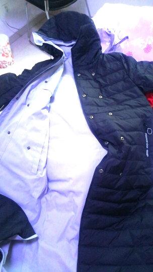 知语者2018秋冬新款日韩双排扣腰带款白鸭绒羽绒服女中长款风衣正反两面穿外套 921 黑色+浅蓝色 L (125~140) 晒单图