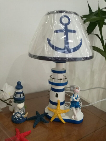 蔓森鑫 创意地中海实木制灯塔造型可调节亮度台灯家居卧室床头灯办公室书房学生桌面台灯装饰摆件 小号男孩台灯 晒单图