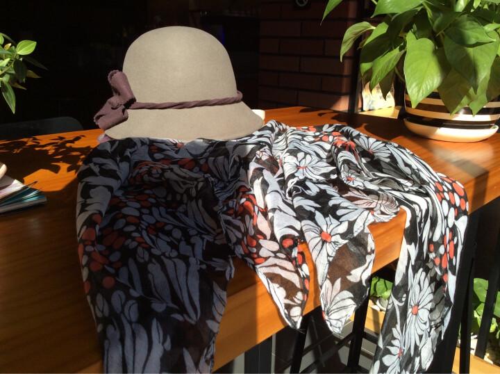 瑞苏薇 原创品牌女甜美花朵羊毛保暖秋冬新款礼帽毛呢帽子 香芋灰 晒单图