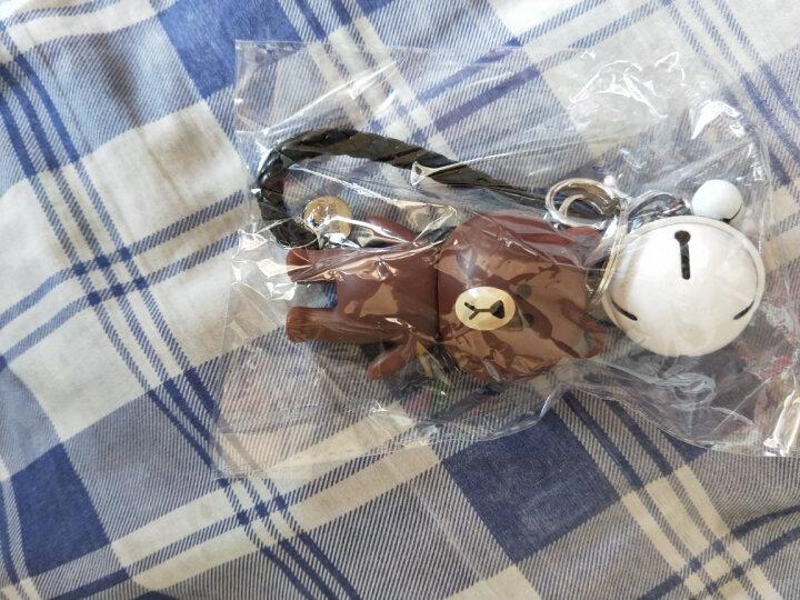【买一送一】生日礼物可爱小熊小兔情侣钥匙扣女创意钥匙链铃铛皮绳挂件公司年会礼物毕业礼物 铜盾牌+黑白皮绳(钨钢款) 晒单图