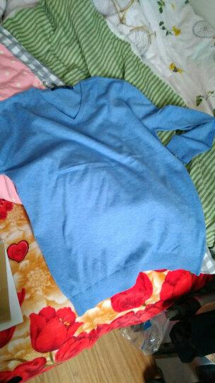 宝利博纳 薄款毛衣男V领韩版针织衫男修身套头衫男纯色 PL17071 浅蓝色17071 175(L) 晒单图