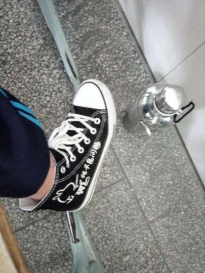 春夏天男鞋手绘涂鸦夜光鞋高帮帆布鞋学生透气单鞋春鞋韩版潮高邦休闲鞋板鞋 中邦黑人生如戏 40 晒单图