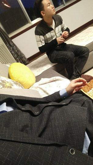 花花公子贵宾 西服男修身韩版小西装套装大码外套2018新款 黑灰-3件套(西服+马甲+西裤) 170/ L(115-120) 晒单图