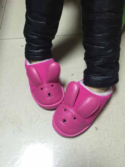 乐拖冬季亲子一家三口儿童卡通男女居家可爱小孩保暖情侣皮棉拖鞋 大红 儿童21(适合脚长18cm) 晒单图