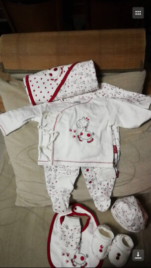 minikaka小卡卡婴儿礼盒婴儿衣服连体服系带套装包被帽子软鞋护手套口水巾新生儿礼盒 红色小马四季款 66cm(0-3月) 晒单图