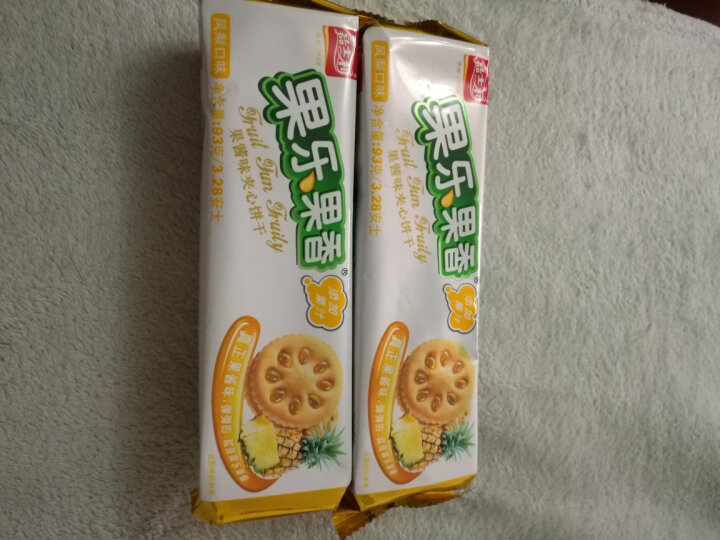 嘉士利 零食 饼干蛋糕 果乐果香 早餐果酱夹心饼干 凤梨味93g/袋 晒单图