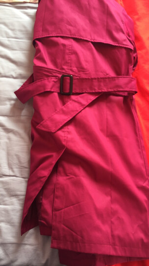 佑琴风衣女中长款2017春秋季新款女装韩版修身时尚纯色女式翻领外套 紫色 XL 晒单图