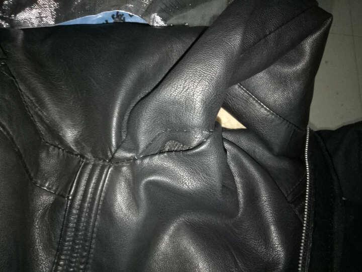 Lee biao男士皮夹克2018秋冬新款韩版修身机车帅气潮流仿皮pu皮衣男外套 棕色GT8716 XL 晒单图