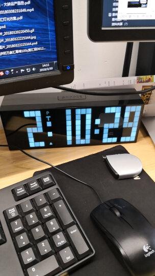 KOSDA钟表 闹钟创意静音夜光多功能电子钟 LED数字倒计时器多组闹铃座钟时钟数码万年历 白色-微浅蓝-大遥控 6位7段 晒单图