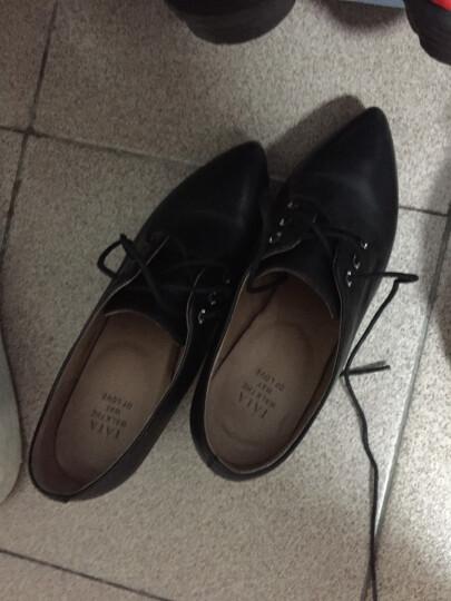 Tata/他她单鞋女高跟鞋2017秋牛皮尖头粗跟深口皮鞋FBA20CM7 米色 34 晒单图