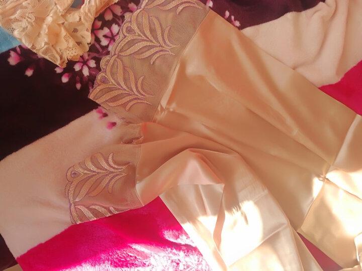 卡欧澜 睡衣女长袖春秋季加大码仿真丝性感蕾丝领家居服套装新款 蝴蝶结鸠羽色 L(160/90) 晒单图