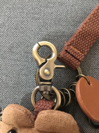 三色补丁创意可爱汽车钥匙包 囧囧熊钥匙扣钥匙挂件实用包包装饰 新版棕色6个扣 晒单图