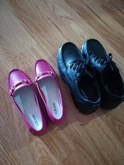 奥康官方女鞋 舒适豆豆一脚蹬女士休闲妈妈护士女单鞋新品女鞋 浅蓝 38 晒单图