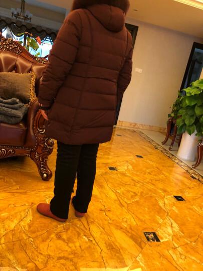 千仞岗秋冬新品妈妈装羽绒服女中老年獭兔毛领大码女装219315 富贵红88108 M/165 晒单图