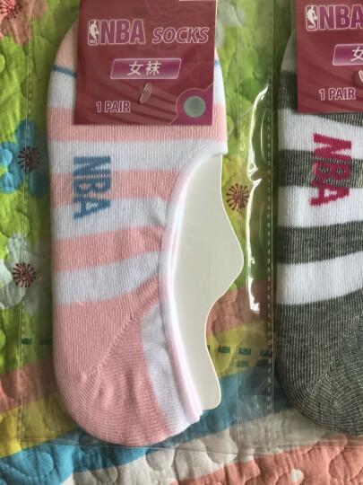 NBA袜子 女士时尚条纹浅口隐形船袜 休闲棉质硅胶防脱袜套 5双装 晒单图