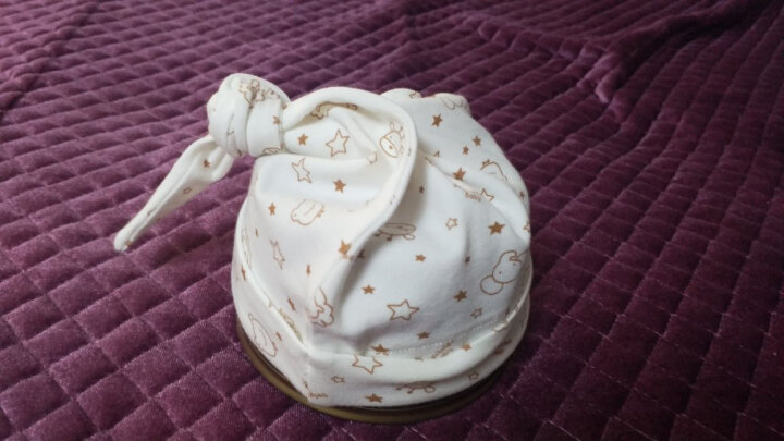 贝谷贝谷 婴儿帽子纯棉新生儿胎帽四季款 S码 头围34cm(米色小熊) 晒单图